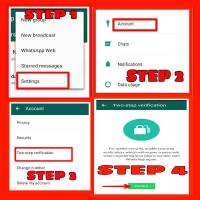 Enable two-step verification on WhatsApp