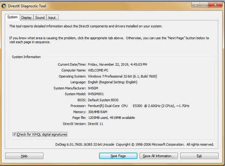 DirectX components and driver installed details of system