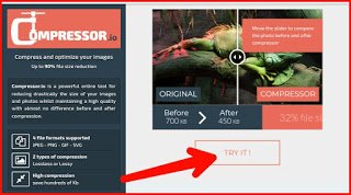Red arrow point on try it option in compressor.io website