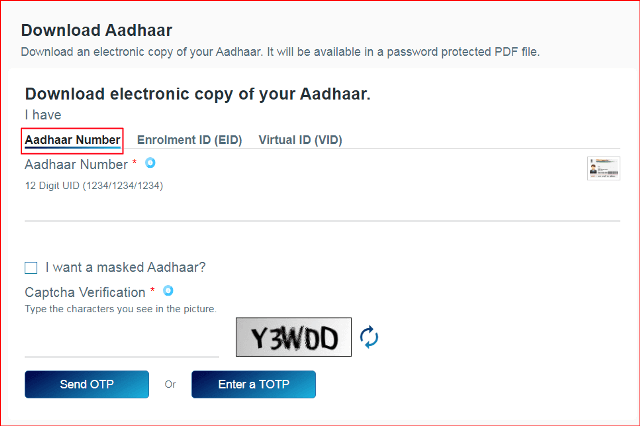Download aadhaar card using aadhaar number