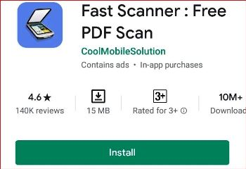Install Fast Scanner from Playstore