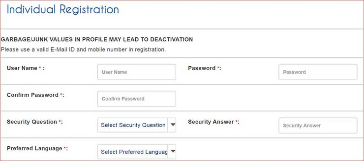 IRCTC Individual Registration Create Username and Password.