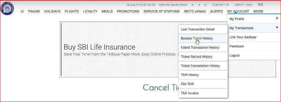 IRCTC Ticket Cancellation process.