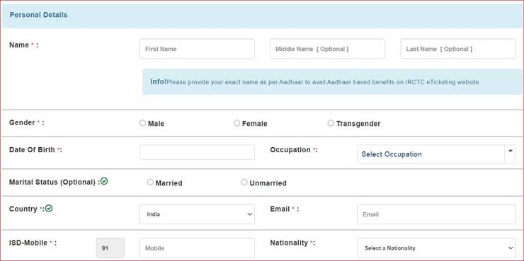 Fill Personal Details For IRCTC Registration.