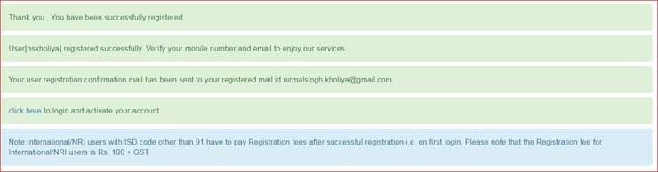 User Successfully Registered on IRCTC.