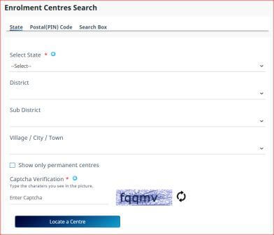 select your state, district, village,city,town for locate a center.