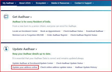 website Uidai.gov.in home page and red arrow point on update address online option.
