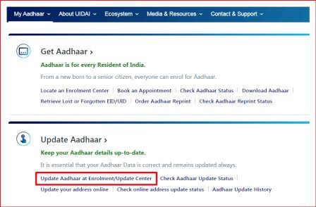 site Uidai.gov.in home page red arrow point on update aadhar section.
