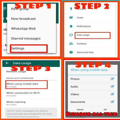 Disable auto download media in whatsapp