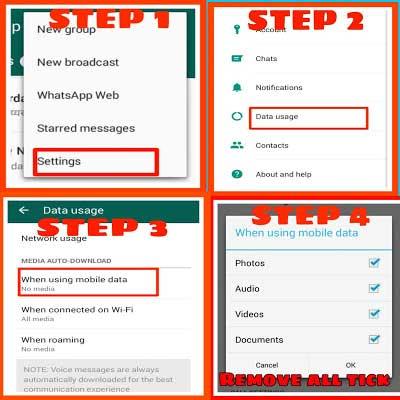 Disable auto download media in whatsapp