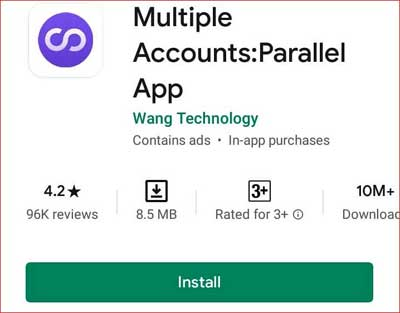 Install Multiple Accounts android app from play store