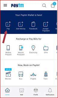 Paytm App homepage red arrow point on Pay