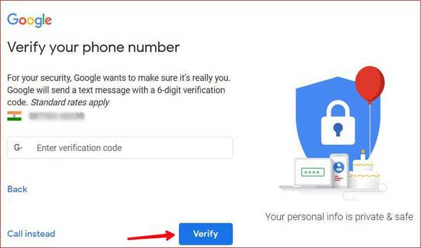 Enter OTP and Verify your number.