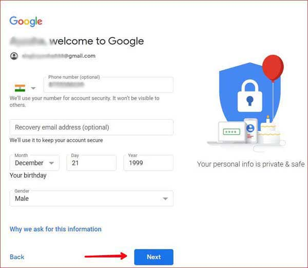 Welcome to google add some information like date of birth and gender.