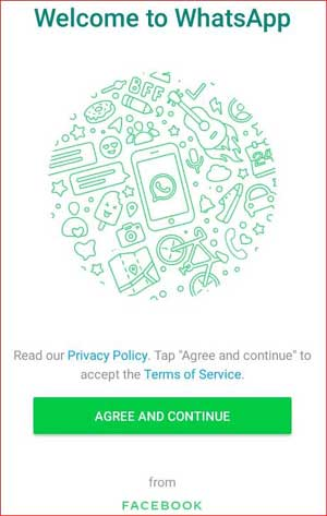 Welcome to Whatsapp tab and agree and continue button