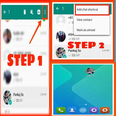Steps through which you can create a shortcut for a chat on Android.