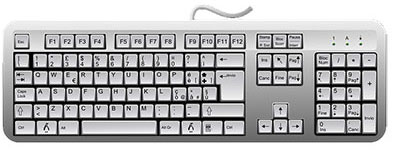 white color qwerty wired keyboard