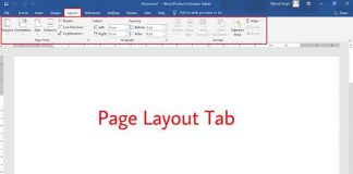 Page Layout Tab in MS Word
