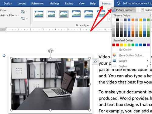 Add Picture Border in Word