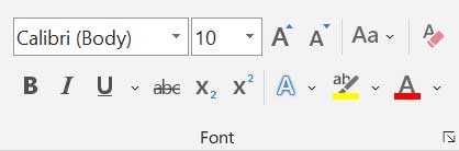 Font Group in Home Tab