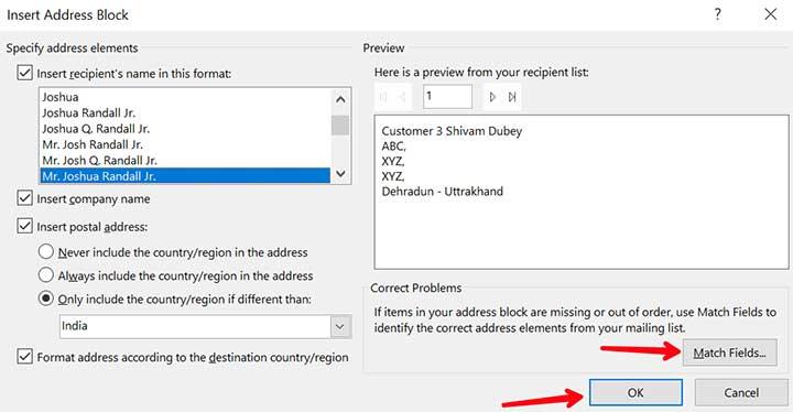 Insert-addressblock