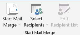 Mailingstab Startmailmerge