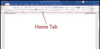 ms word home tab