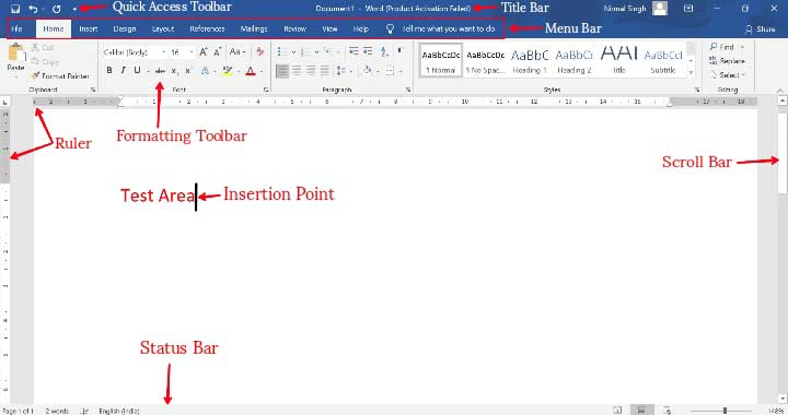 Parts of Microsoft Word with Label