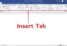ms word insert tab