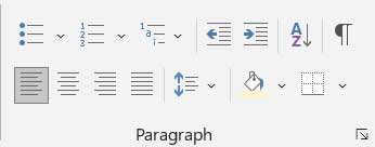 Paragraph Group in Home Tab