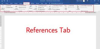 References Tab in MS Word