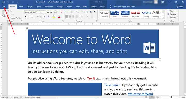 Save a Word Document Step 1